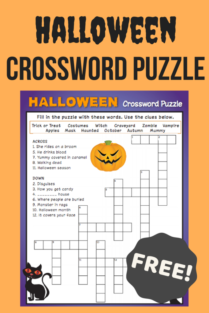Halloween Crossword Puzzle Printable 3Rd Grade Printable