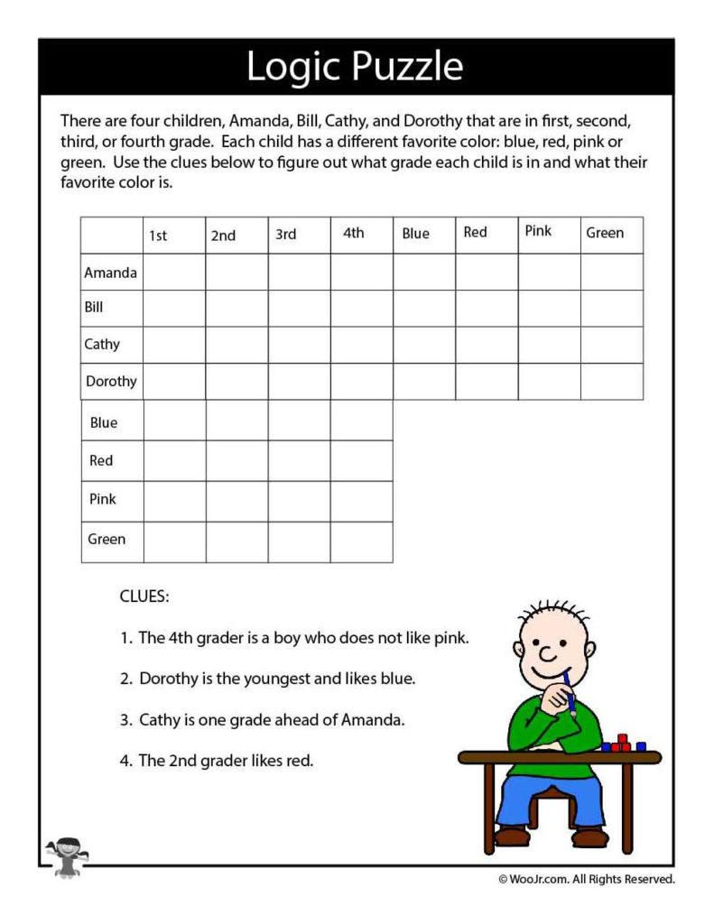 Hard Logic Puzzle For Kids Woo Jr Kids Activities