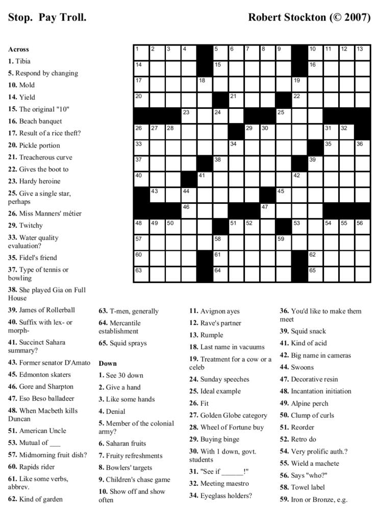 High School Crossword Puzzles Printable Printable