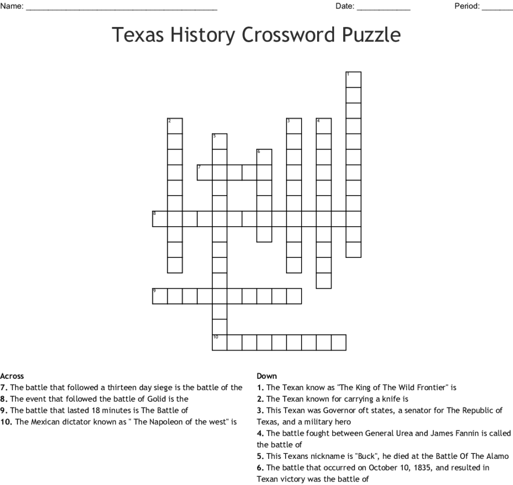 History Crossword Puzzles Printable Printable Crossword