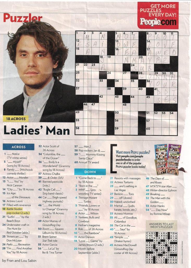 John Mayer People Magazine Crossword I Love Doin People