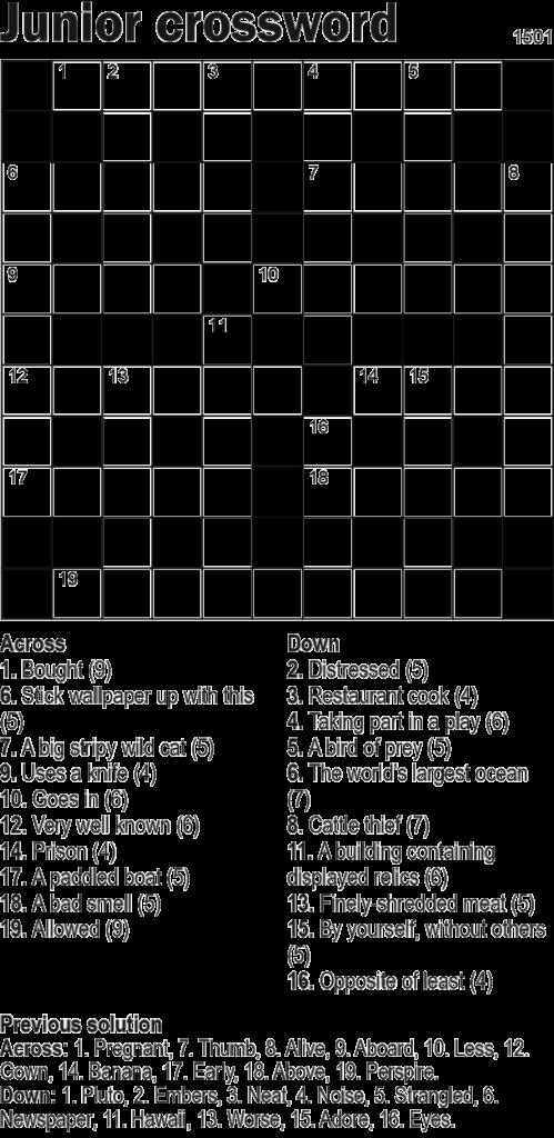 Junior Crossword 11x11 Knight Features Content Worth