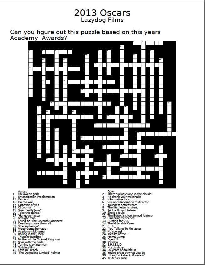 LazyDog Film Blog An Oscar Crossword Puzzle To Pass The Time