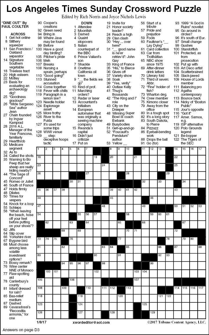 L A Times Printable Crossword