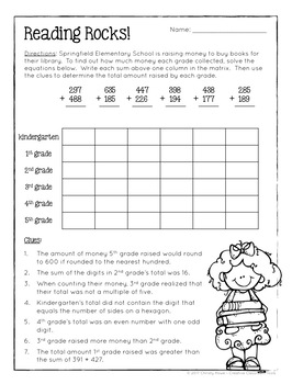 Math Logic Puzzles 3rd Grade Enrichment By Christy Howe