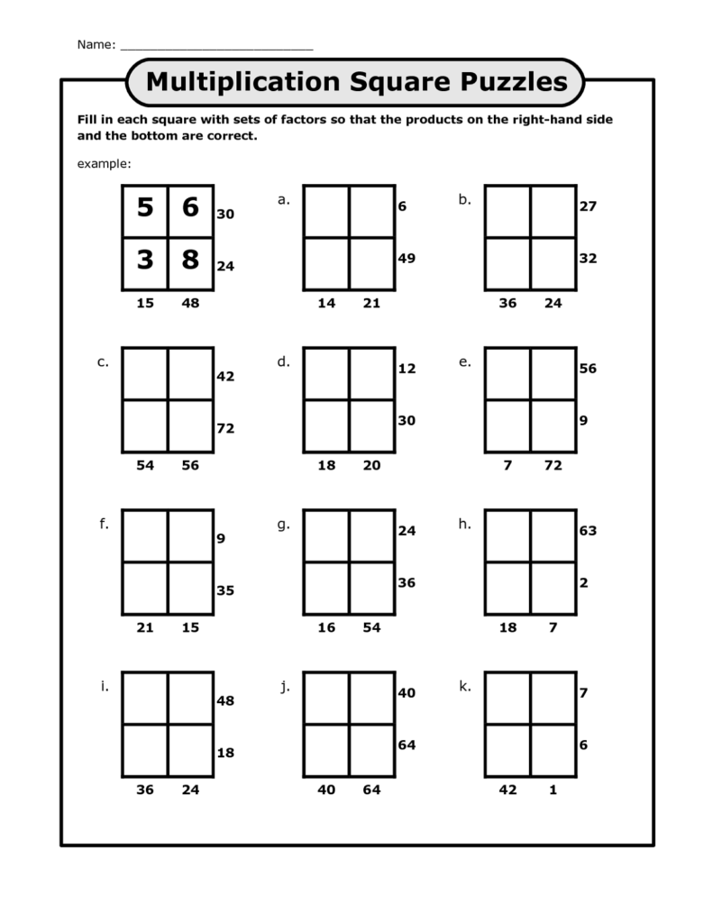 Math Puzzles Printable For Learning Activity Shelter