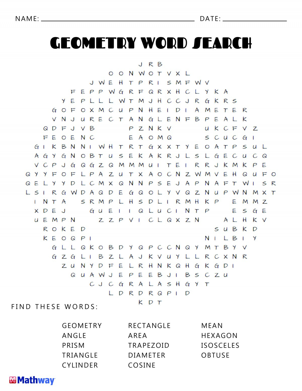 Free Printable Word Search Puzzles Geometry