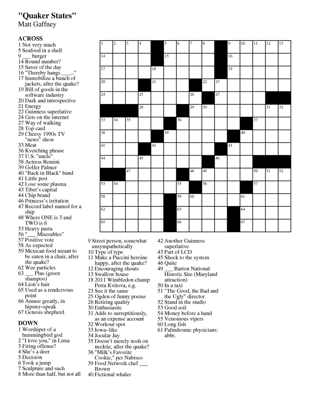 Printable Crossword Wsj