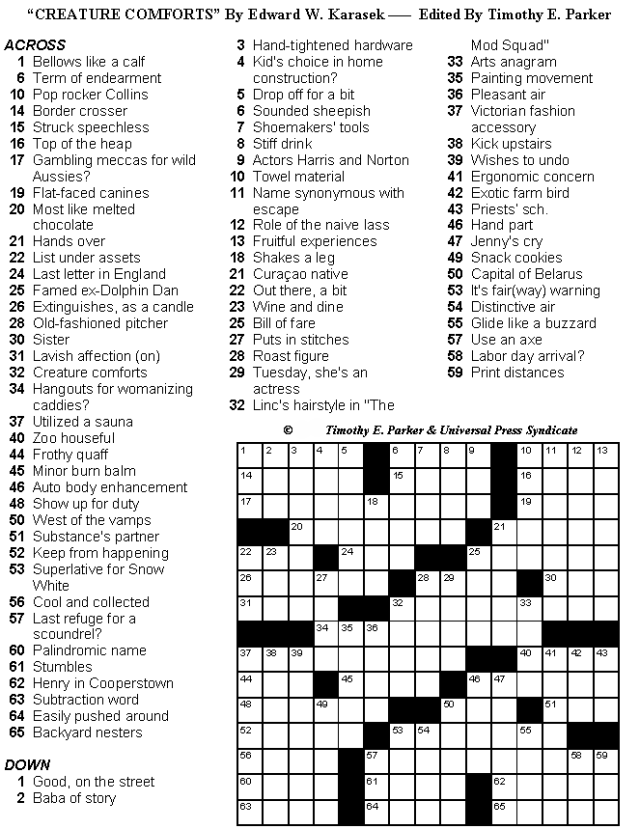 Medium Difficulty Crossword Puzzles To Print And Solve
