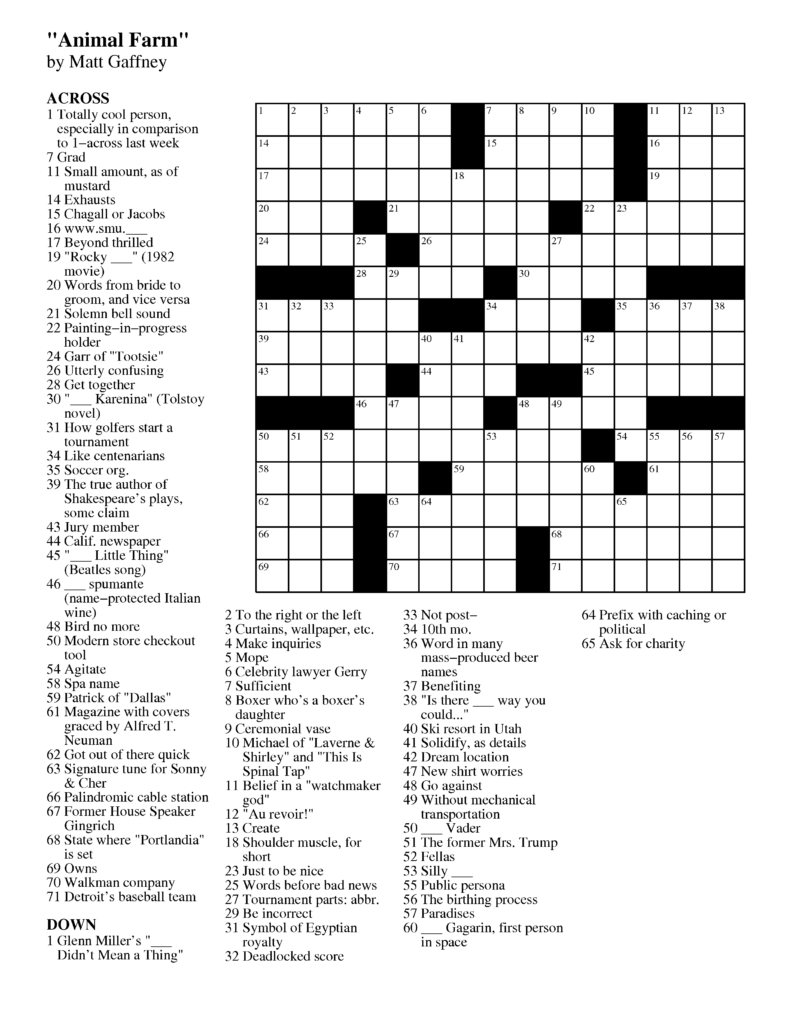 Merl Reagle S Sunday Crossword Free Printable Free