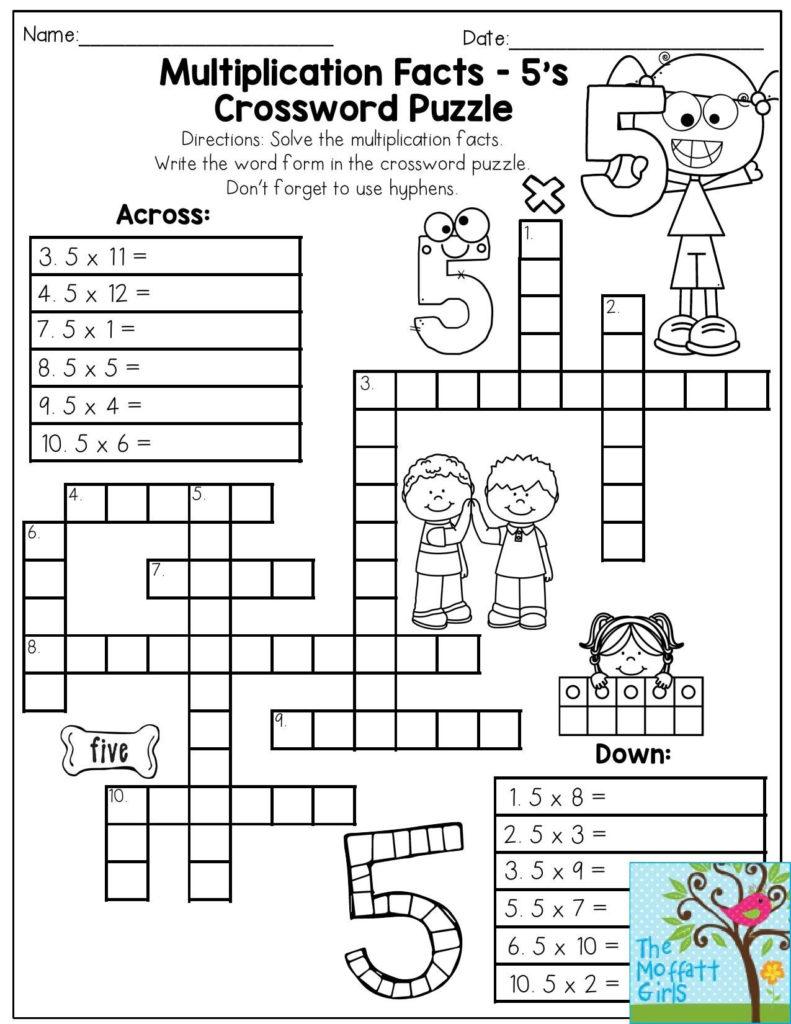 Multiplication Facts Crossword Puzzle Third Grade