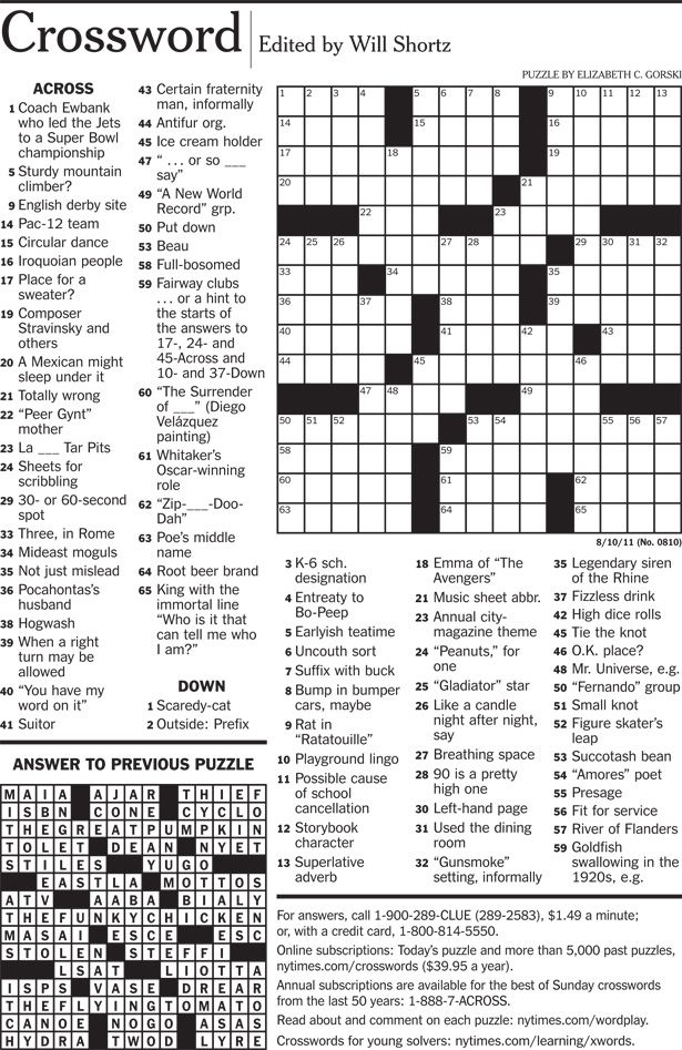 New York Times Crossword Printable Free Wednesday