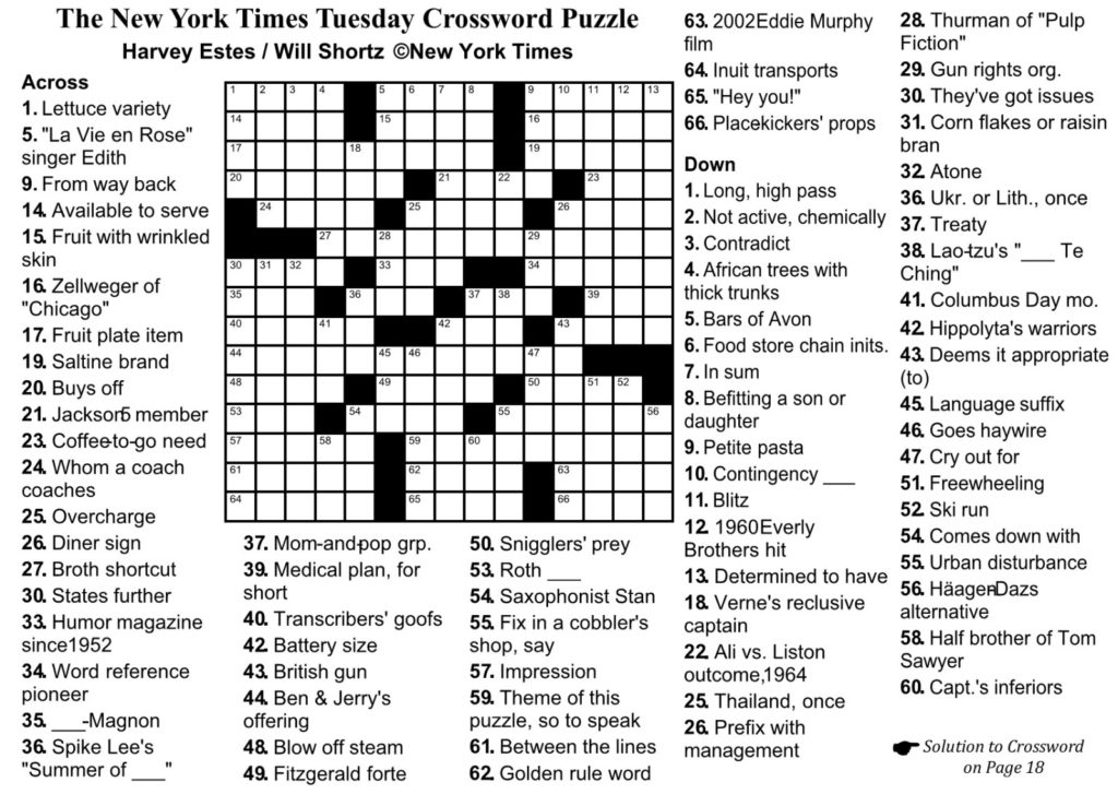 New York Times Crossword Printable Free Monday Free