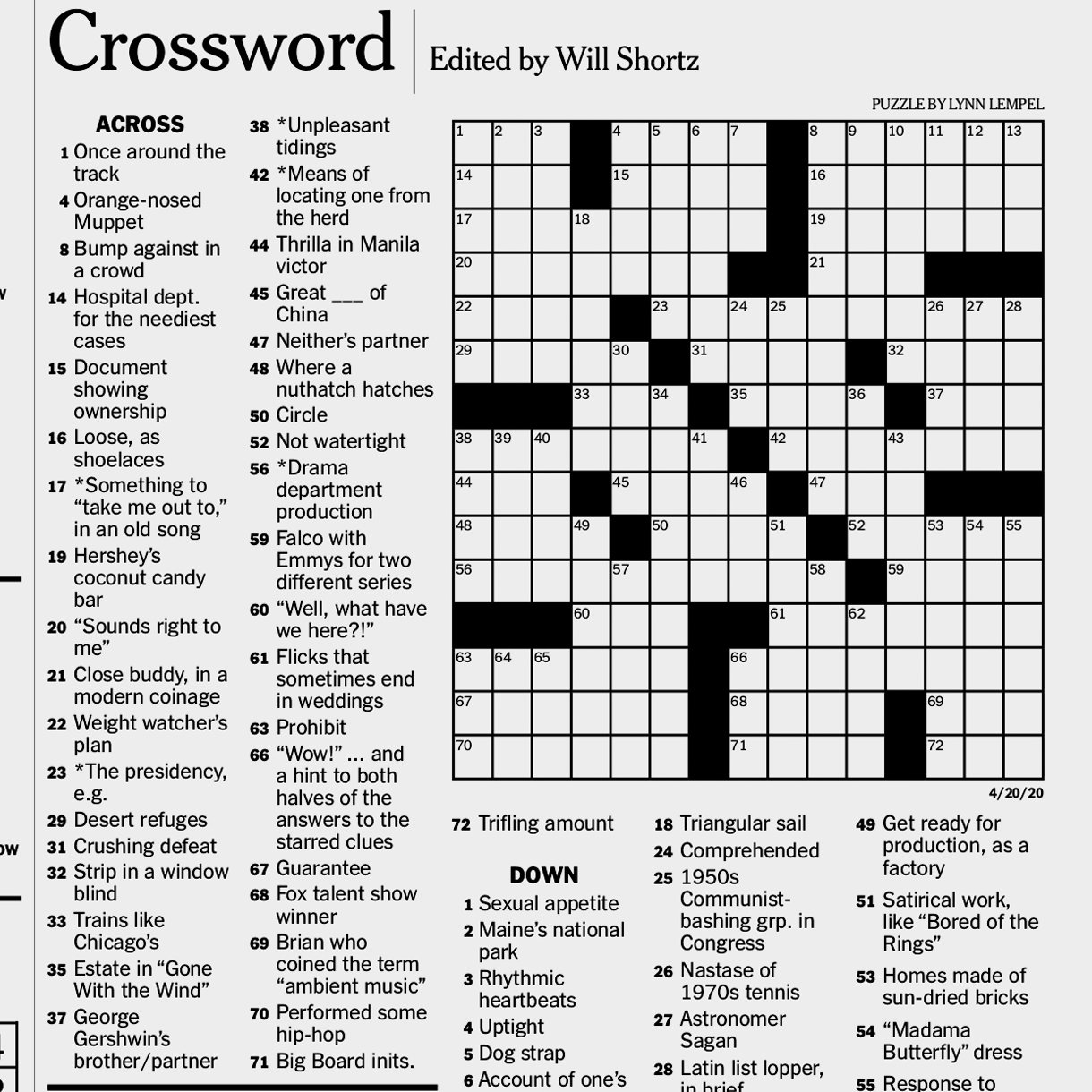 New York Times Crossword Printable Free Wednesday