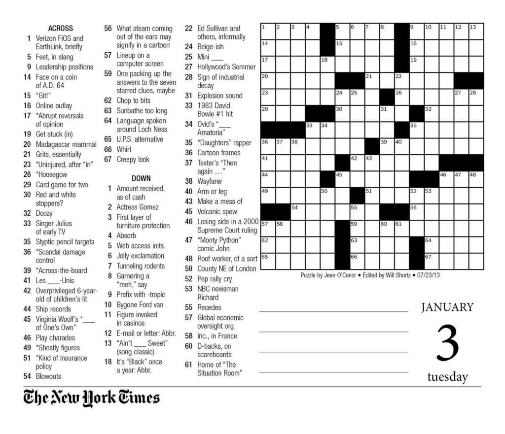 New York Times Sunday Crossword Puzzle Printable