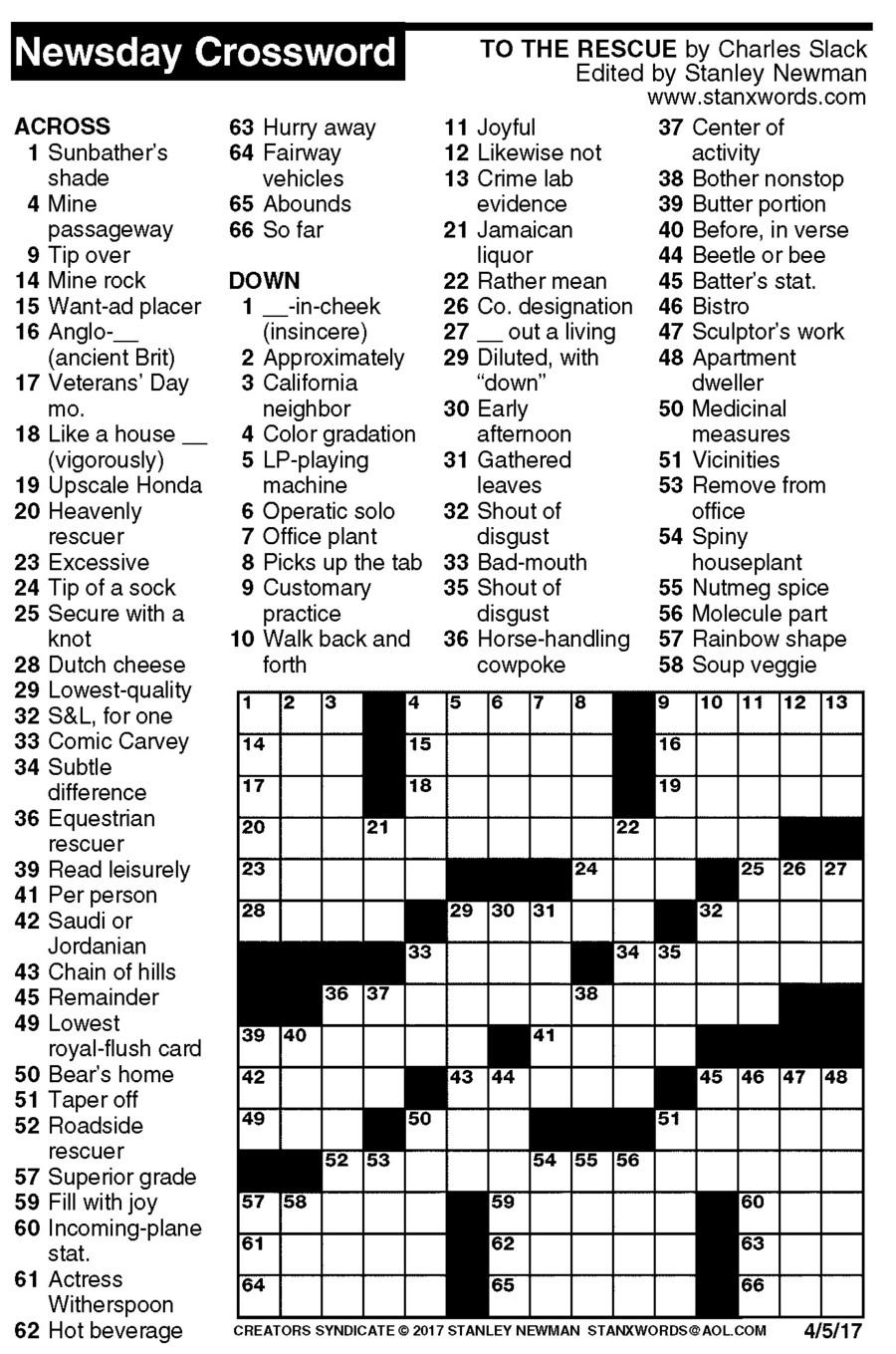 Detroit Free Press Printable Crossword Puzzles