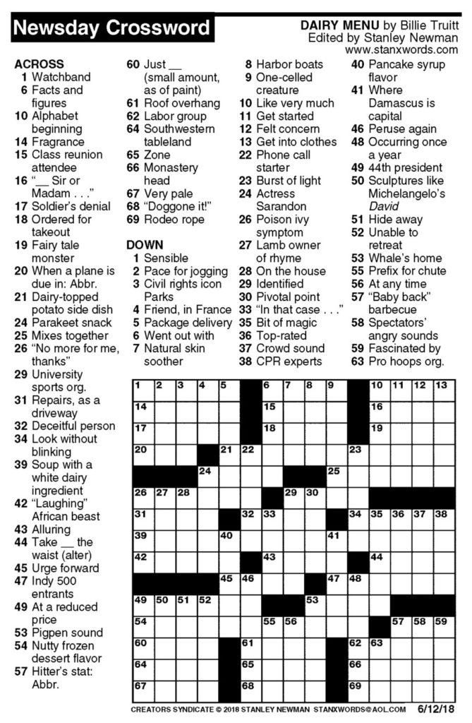 Newsday Crossword Puzzle For Jun 12 2018 Stanley Newman