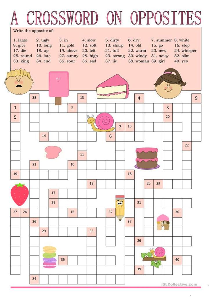 Opposites Crossword Worksheet Free ESL Printable