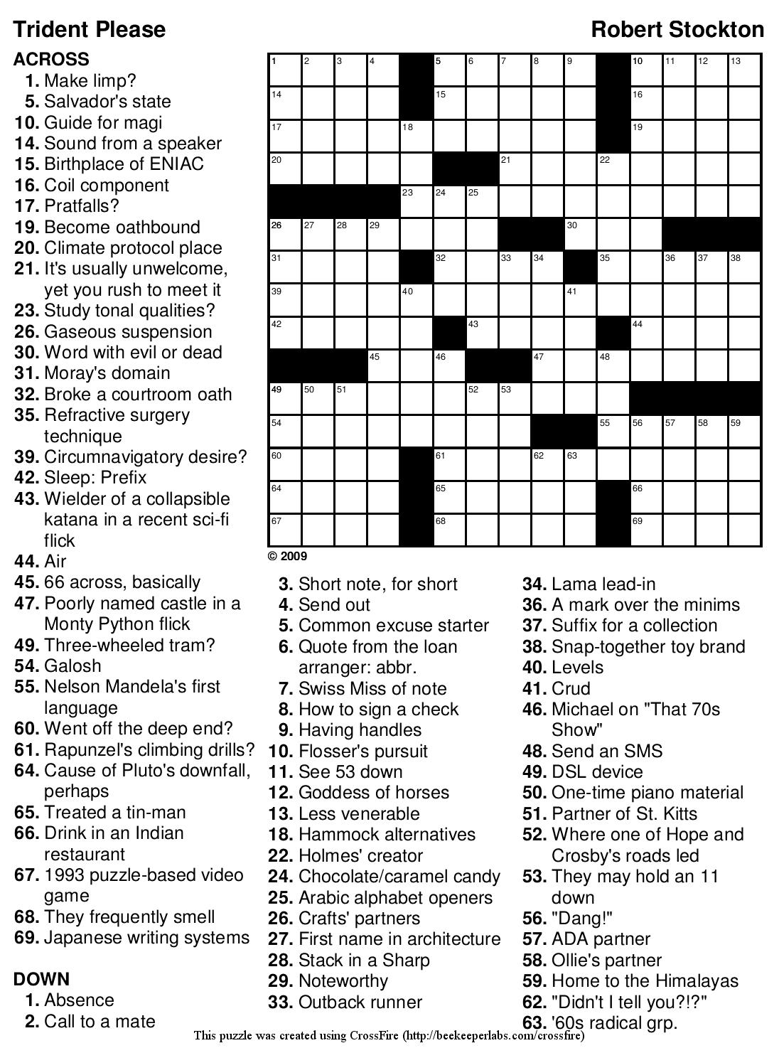 Free Printable Pop Culture Crossword Puzzles