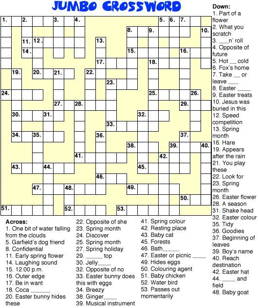 Print This Jumbo Spring Crossword Puzzle For Kids