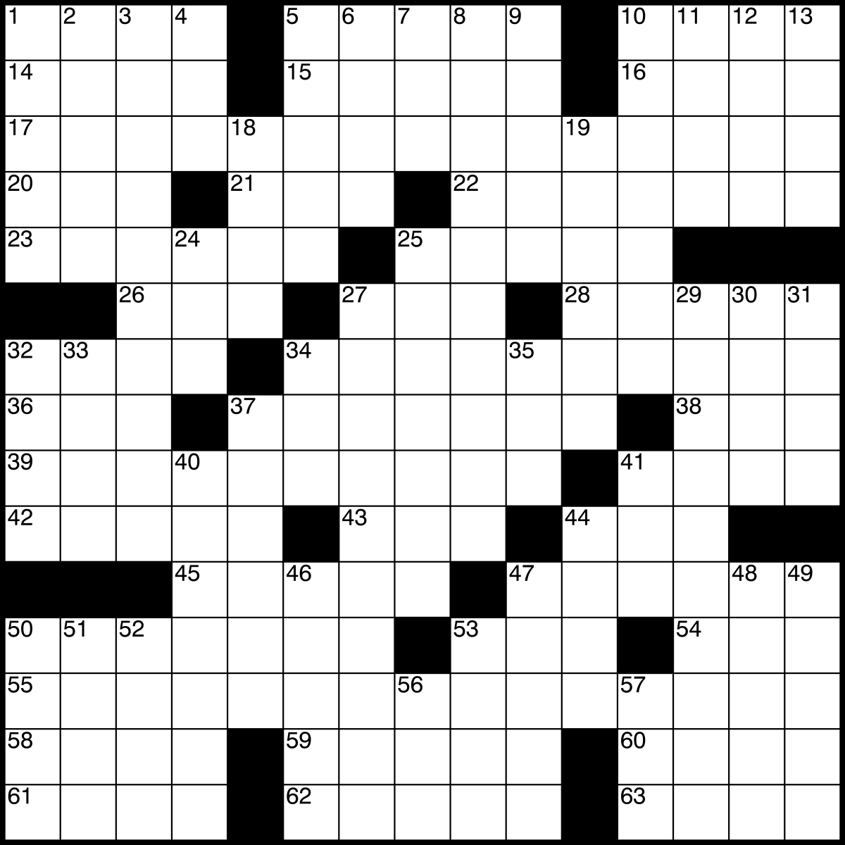 Printable Crossword Grid