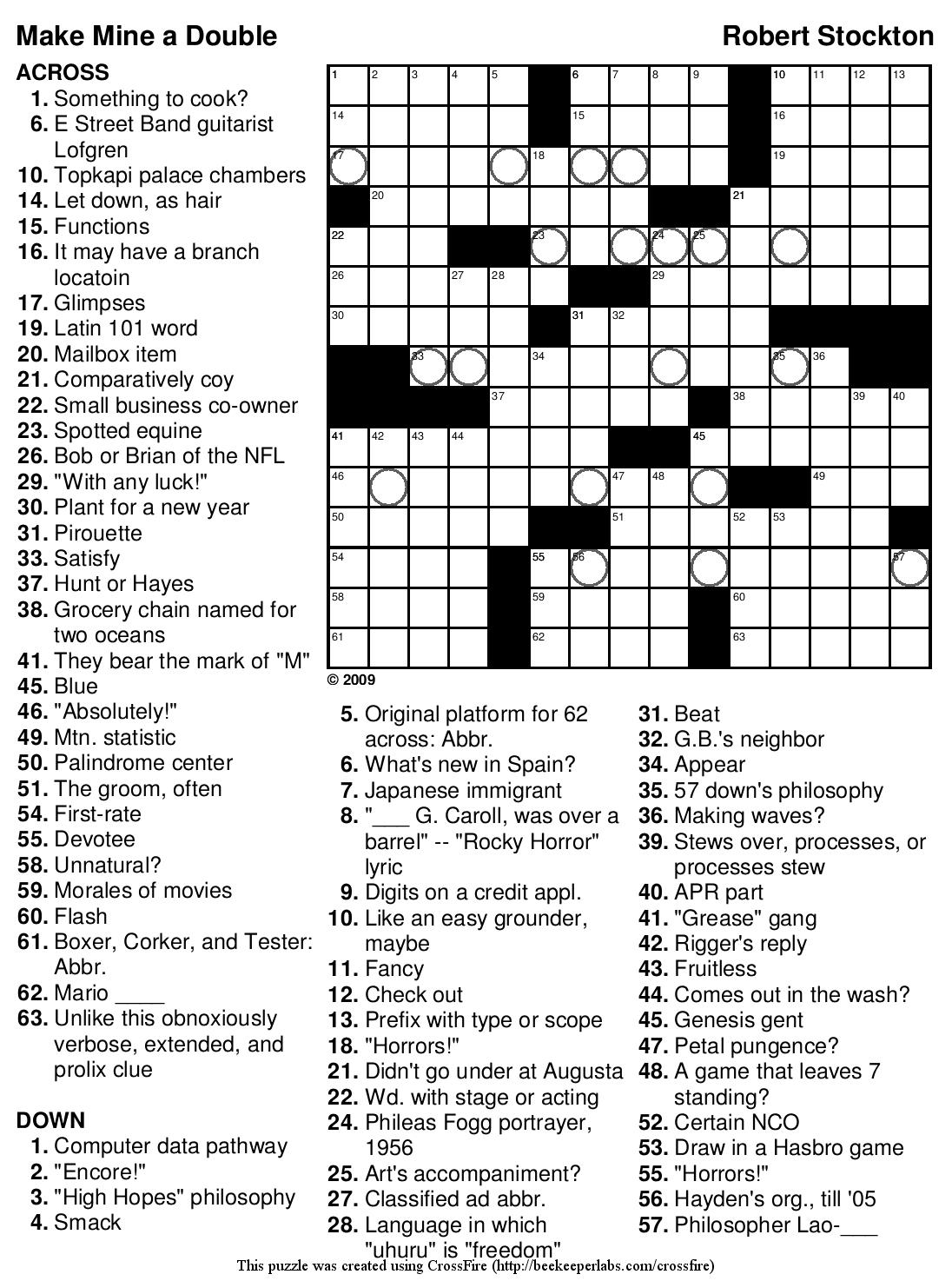 Free Printable Hard Crosswords
