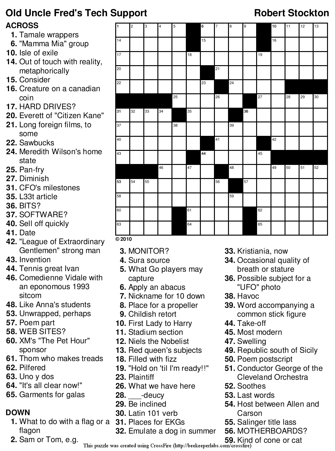 Printable Crossword Puzzles For 12 Year Olds
