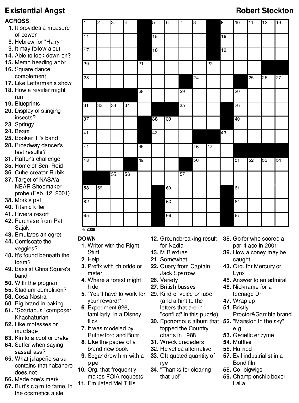 Printable Crossword With Solutions
