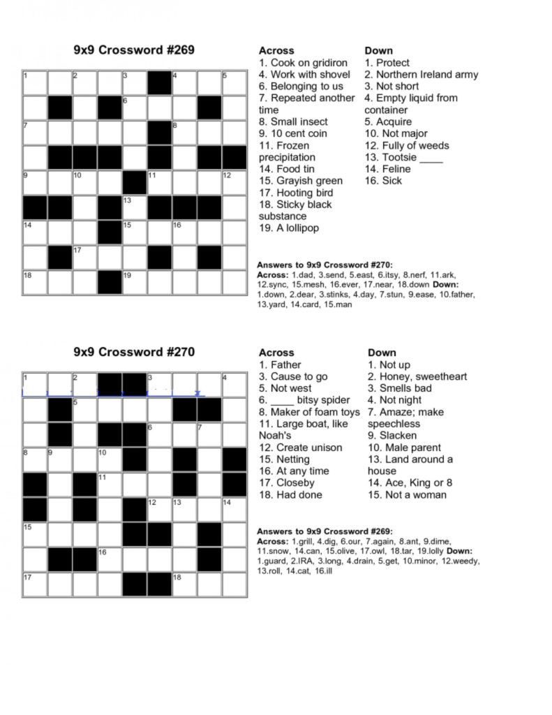 Printable Crossword Puzzle With Answer Key Printable