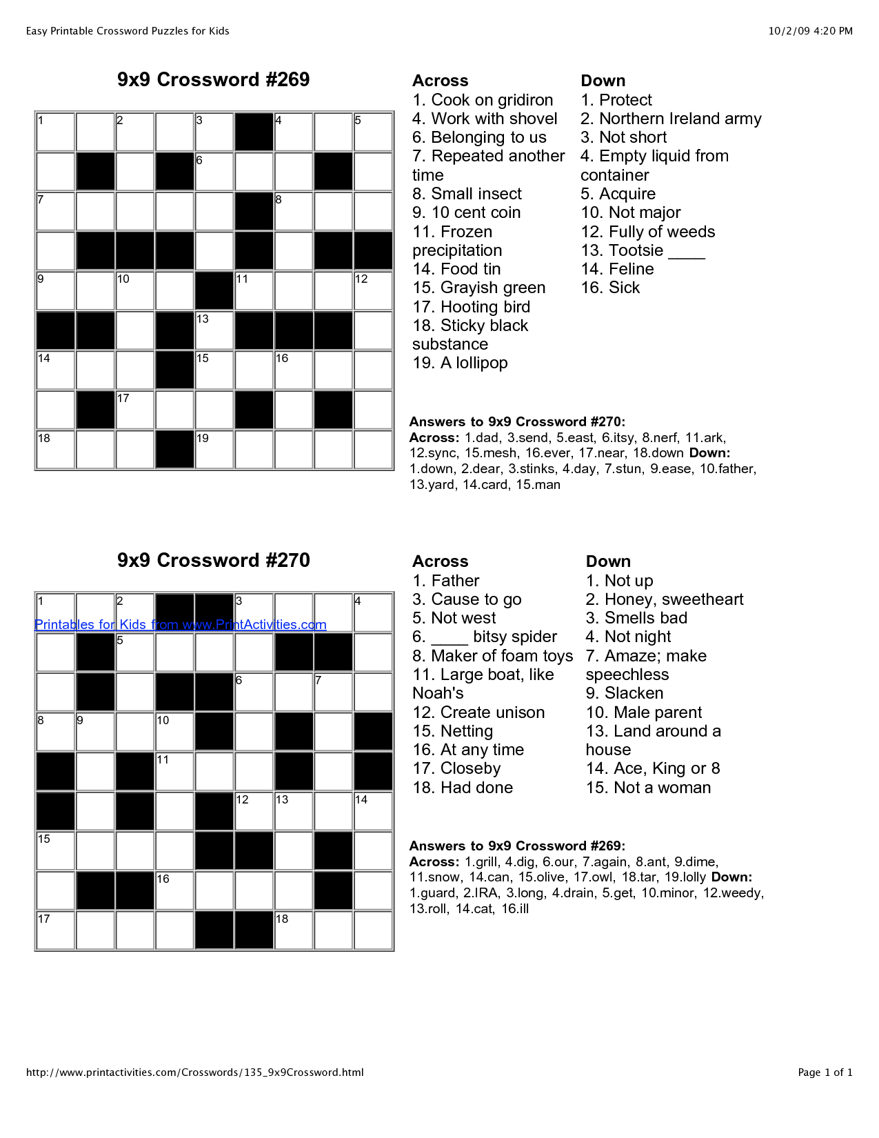 Printable Crossword For 8 Year Olds