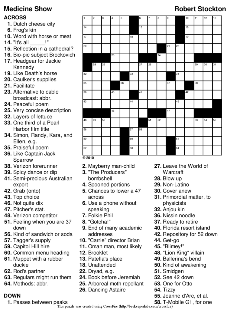 Printable Crossword Puzzles Solutions Printable