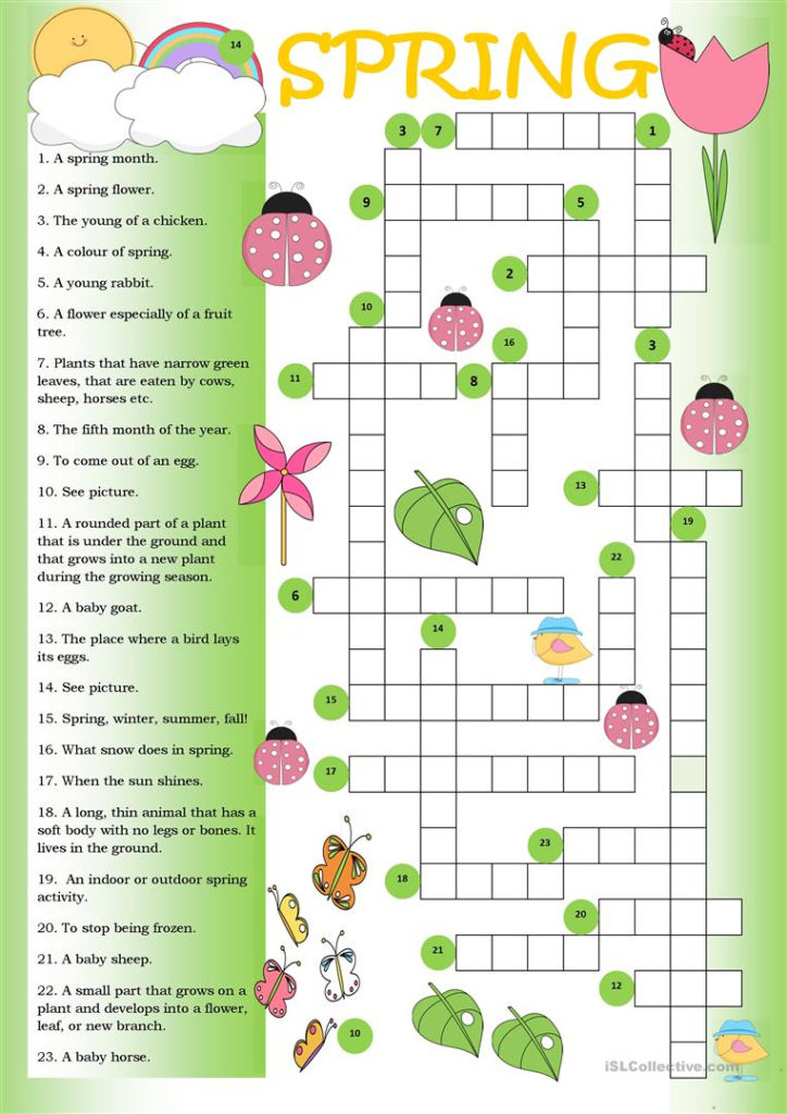 Printable Crossword Spring Printable Crossword Puzzles
