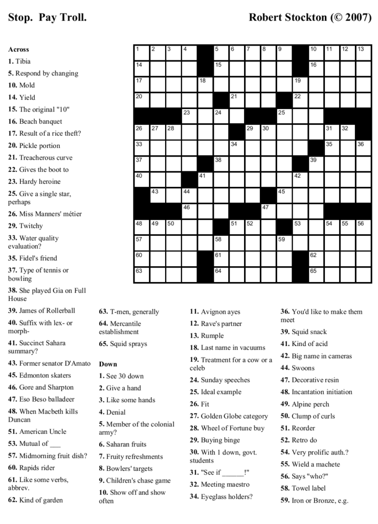Printable Crosswords For High School Students Printable