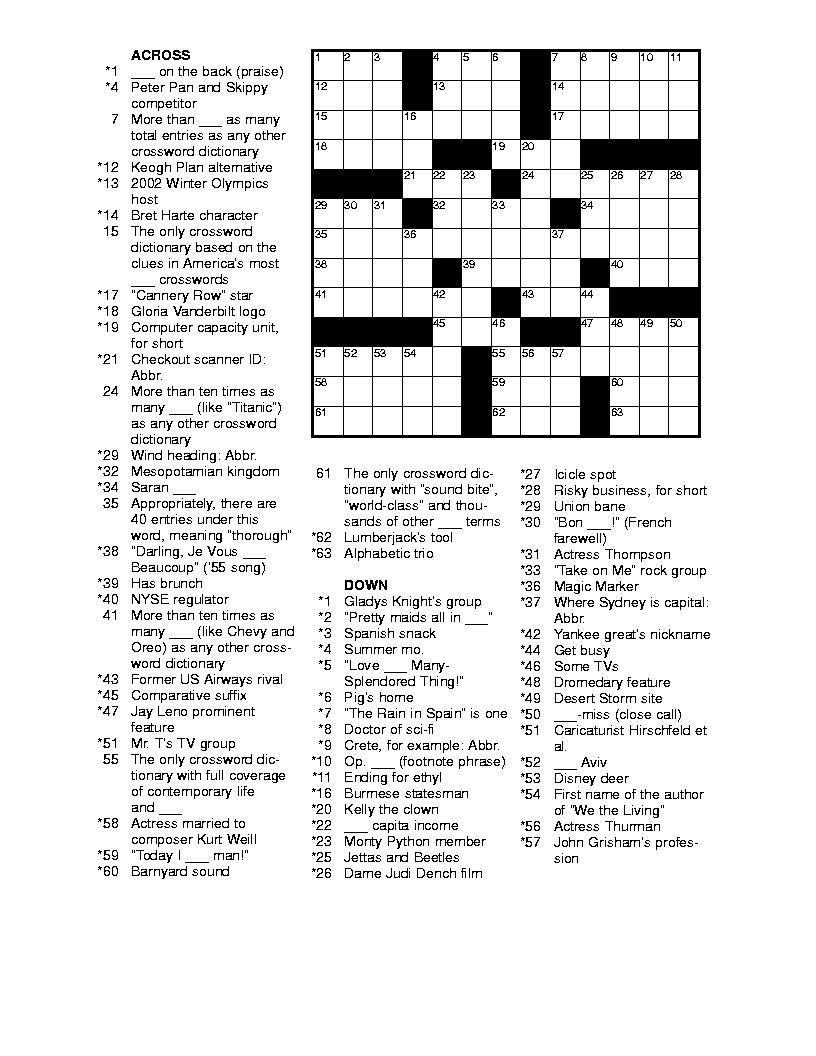 Free Printable Crossword Puzzles #4