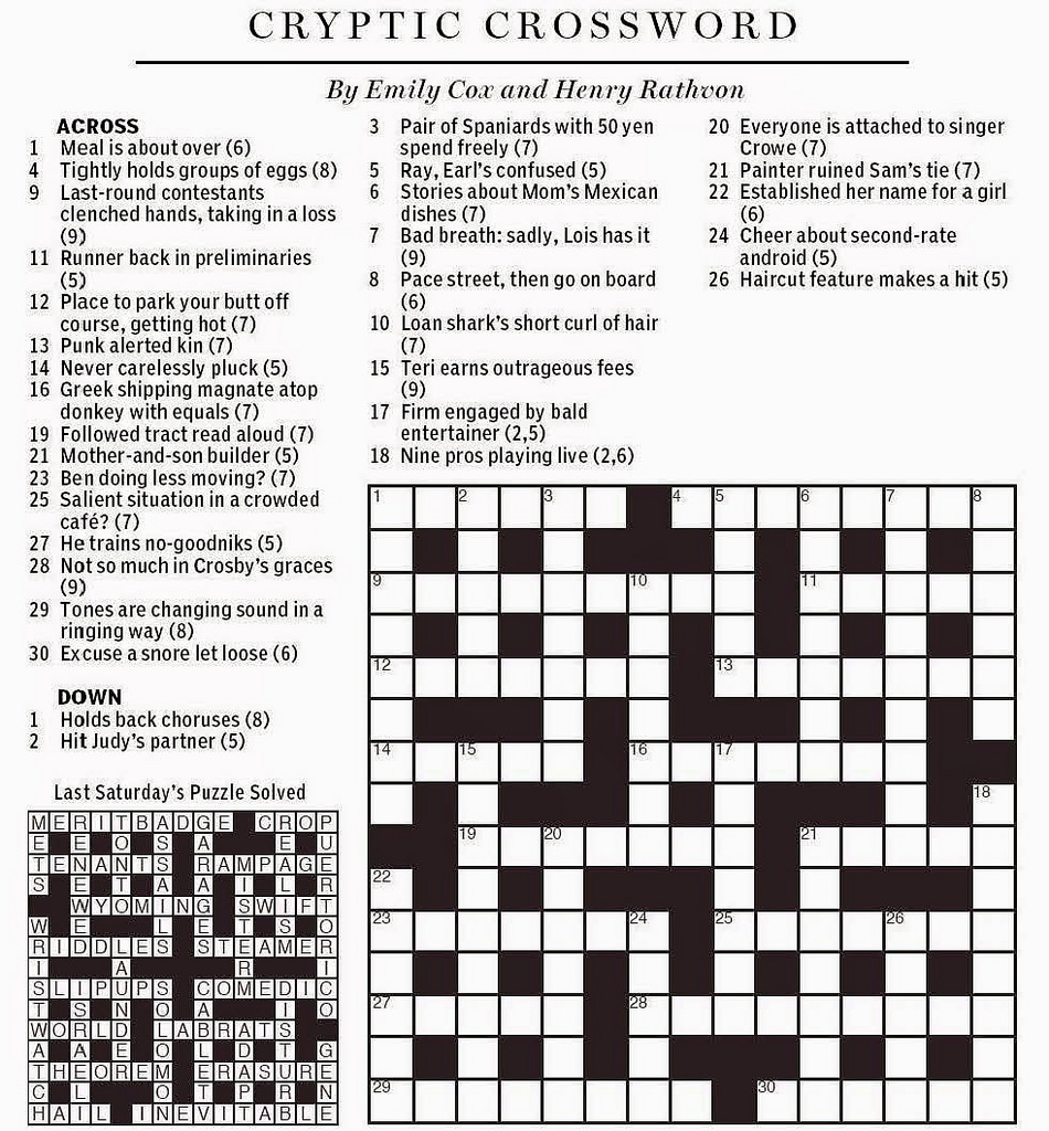 Printable Cryptic Crossword Puzzles Download Them Or Print