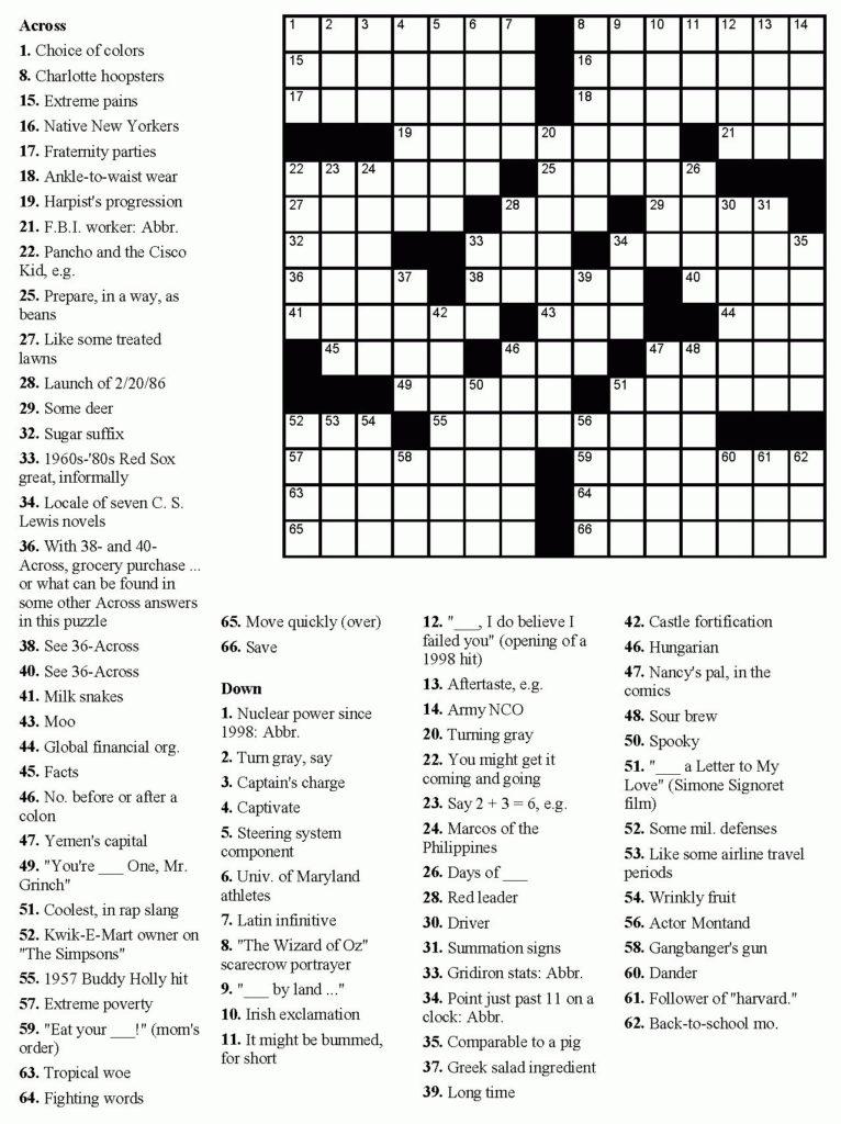 Printable Hard Crossword Puzzles Pdf Free Printable