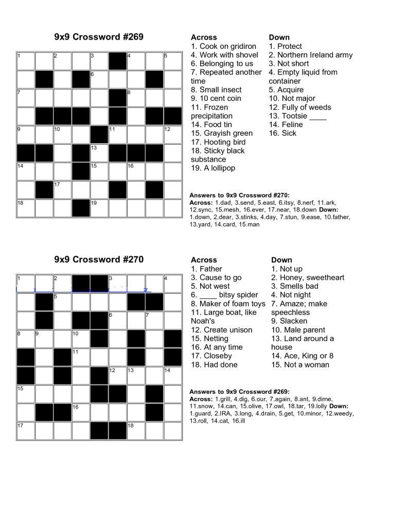 Printable Junior Crossword Puzzles Printable Crossword