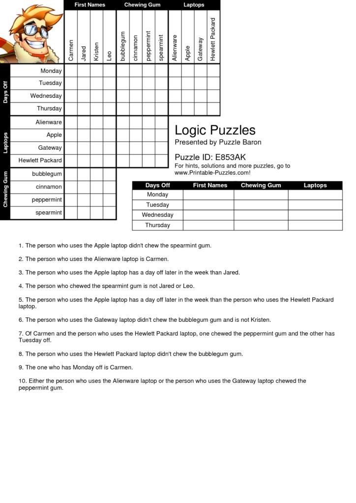 Printable Logic Puzzles Logic Puzzles Printable