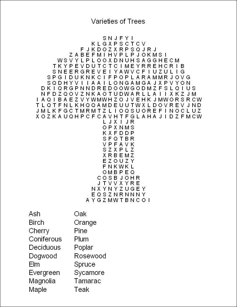 Free Printable Hard Word Search Puzzles