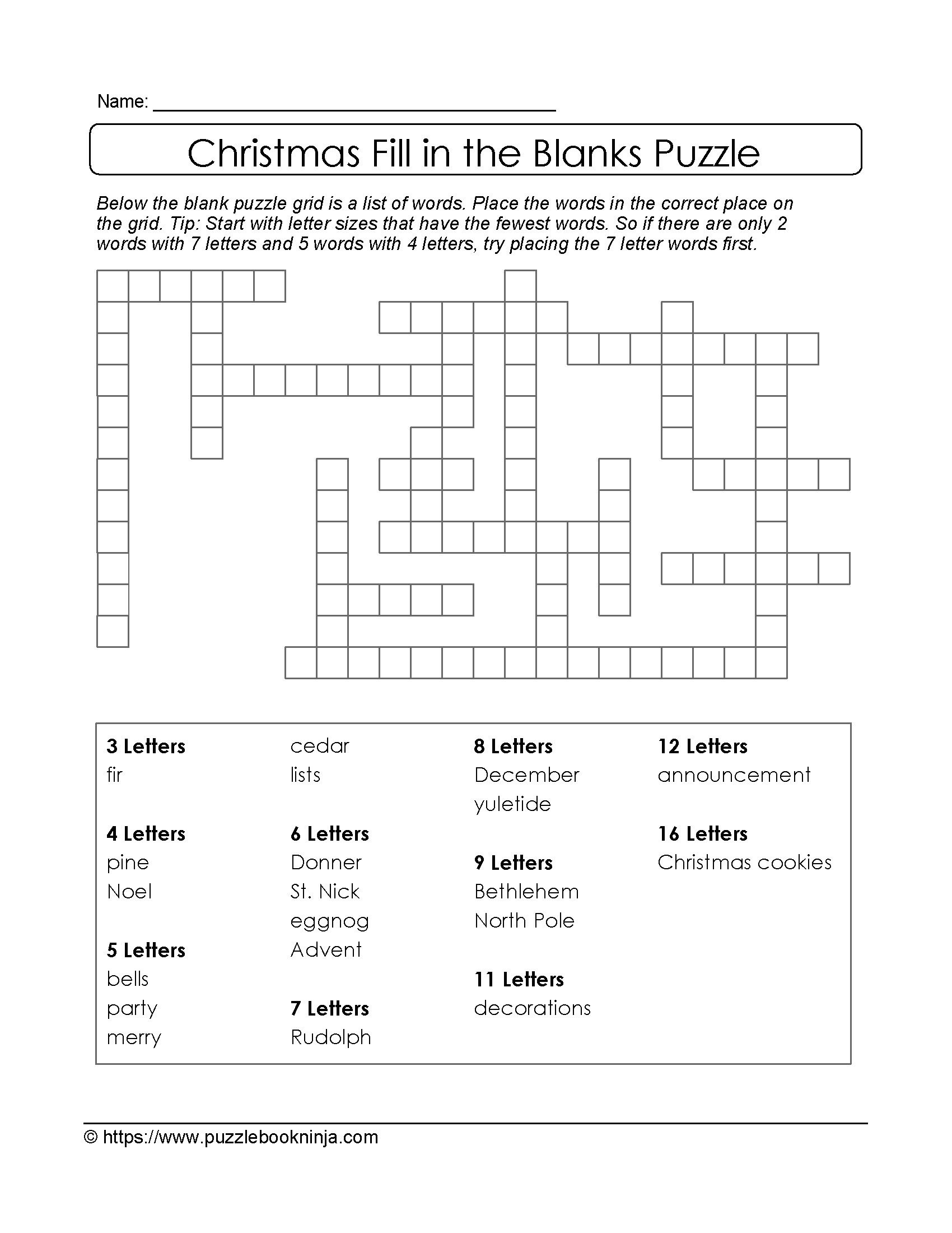Printable Crossword For 10 Year Olds