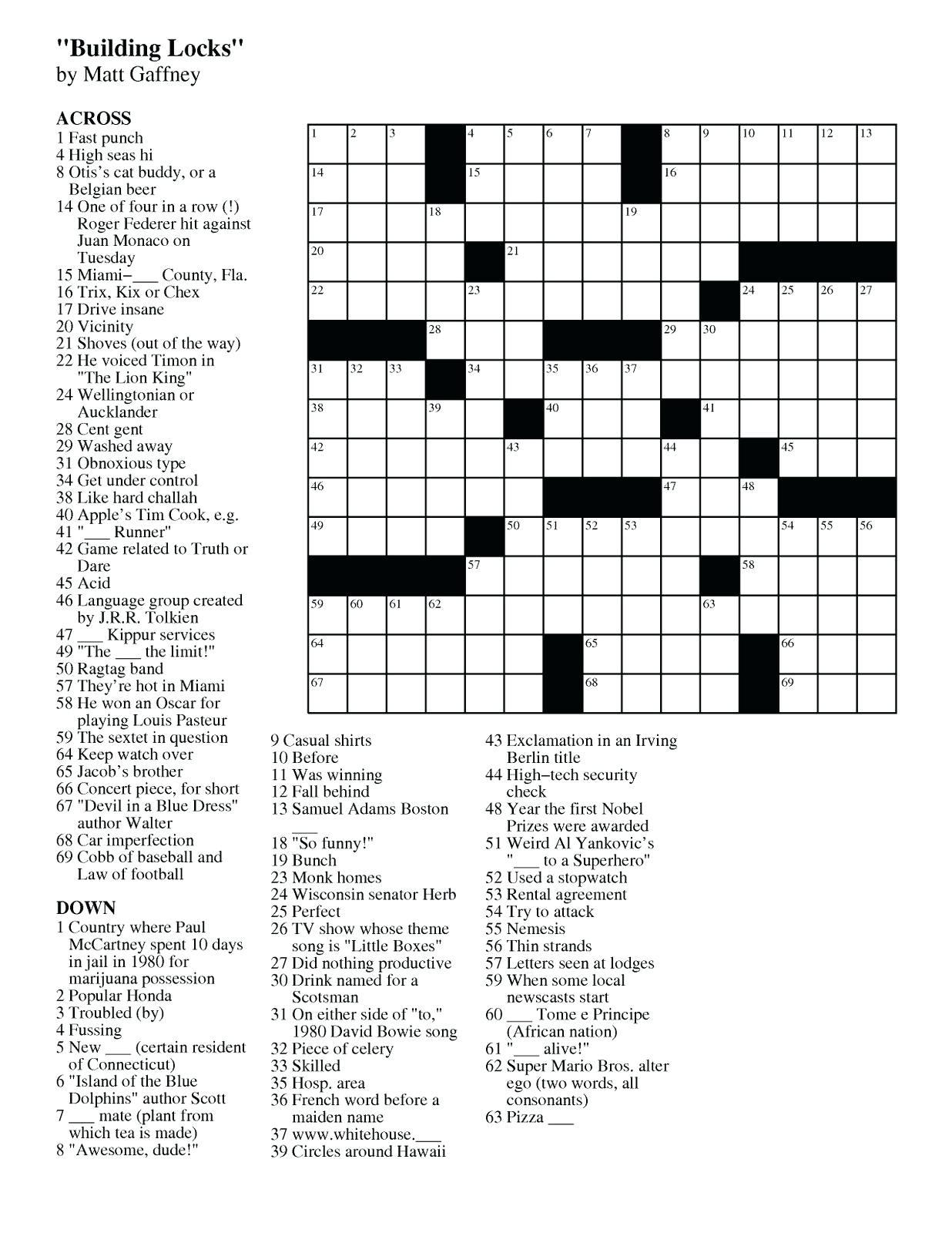 Printable Crossword Uk