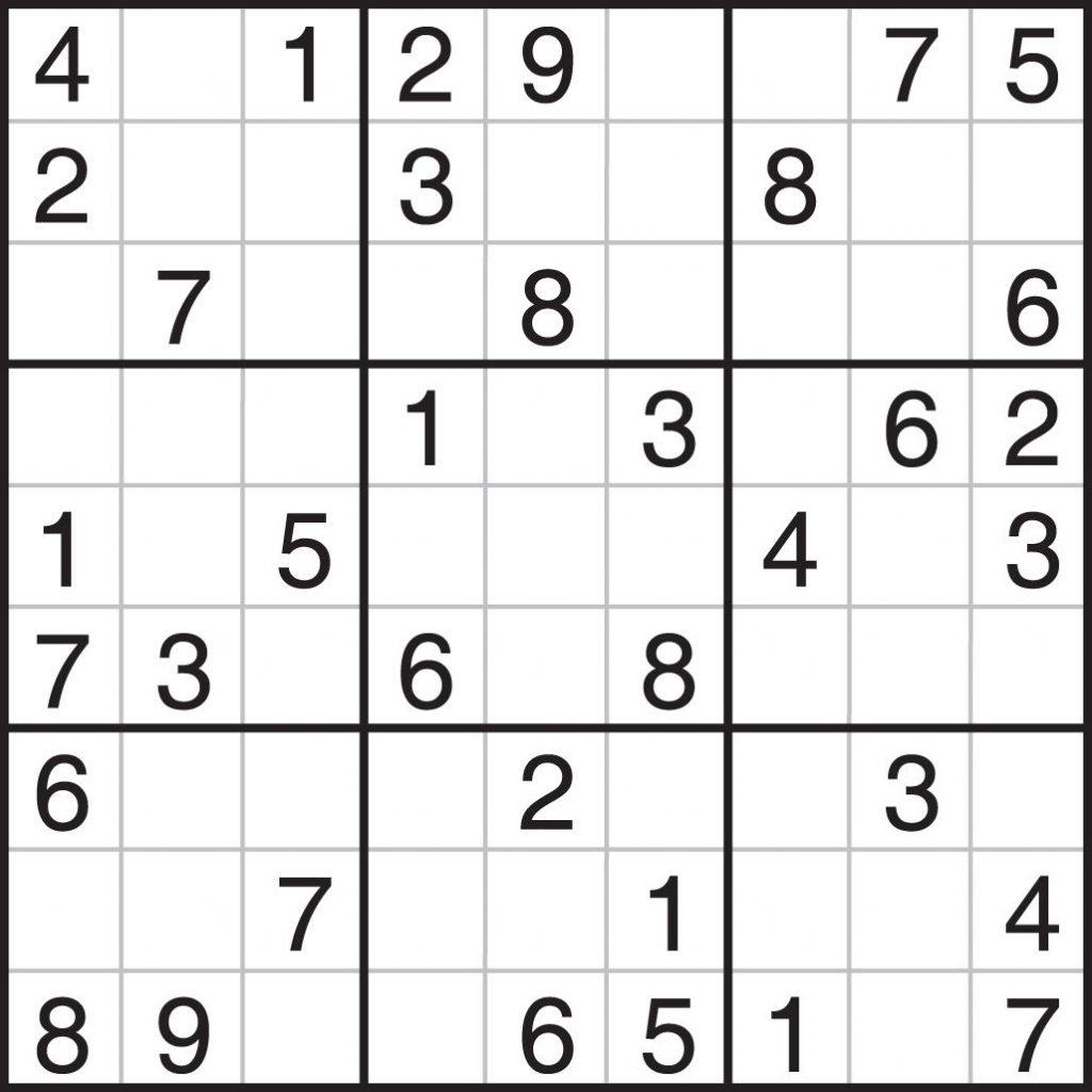 Printable Sudoku Puzzles 9X9 Printable Crossword Puzzles