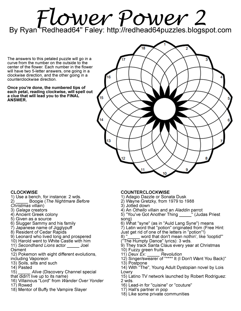 Free Printable Flower Power Puzzles