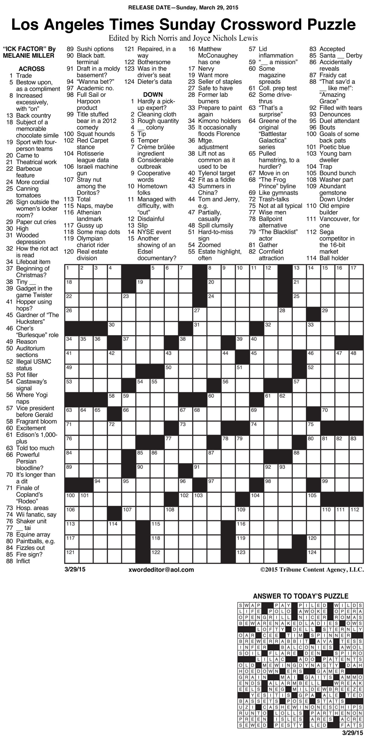 La Times Crossword Free Printable