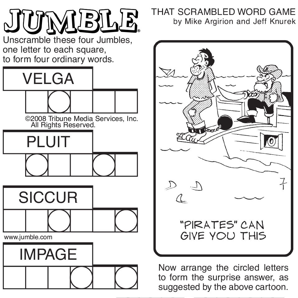 Sample Of Sunday Jumble Tribune Content Agency Jumbled