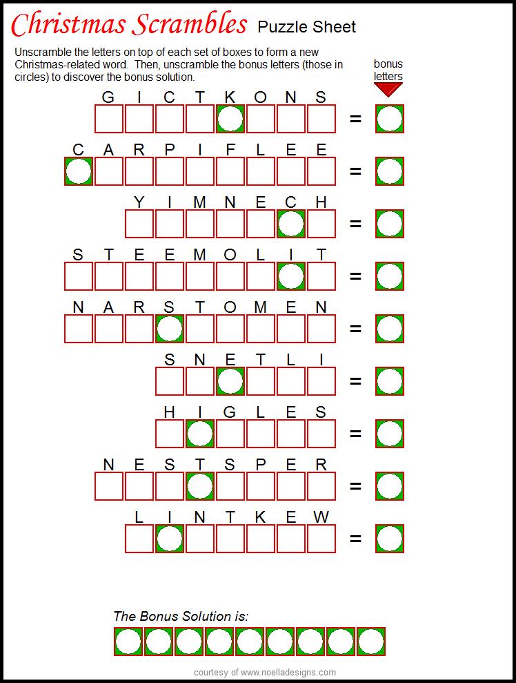 Scrambles Puzzle Sheet