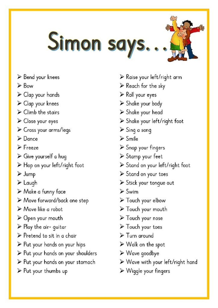 Simon Says Pdf OneDrive Preschool Songs Classroom