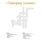 Thanksgiving Crossword Puzzle FREE Printable For Kids Or