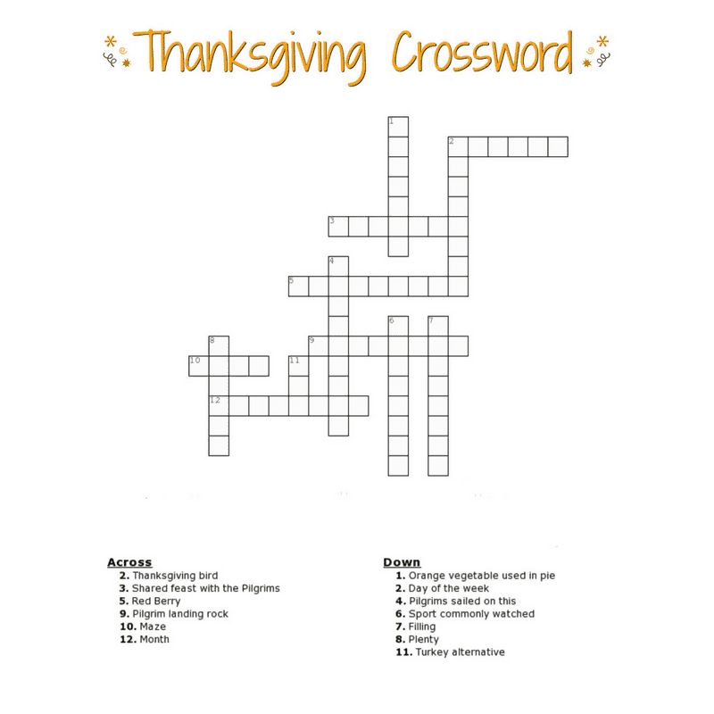 Printable Crossword With Word Bank