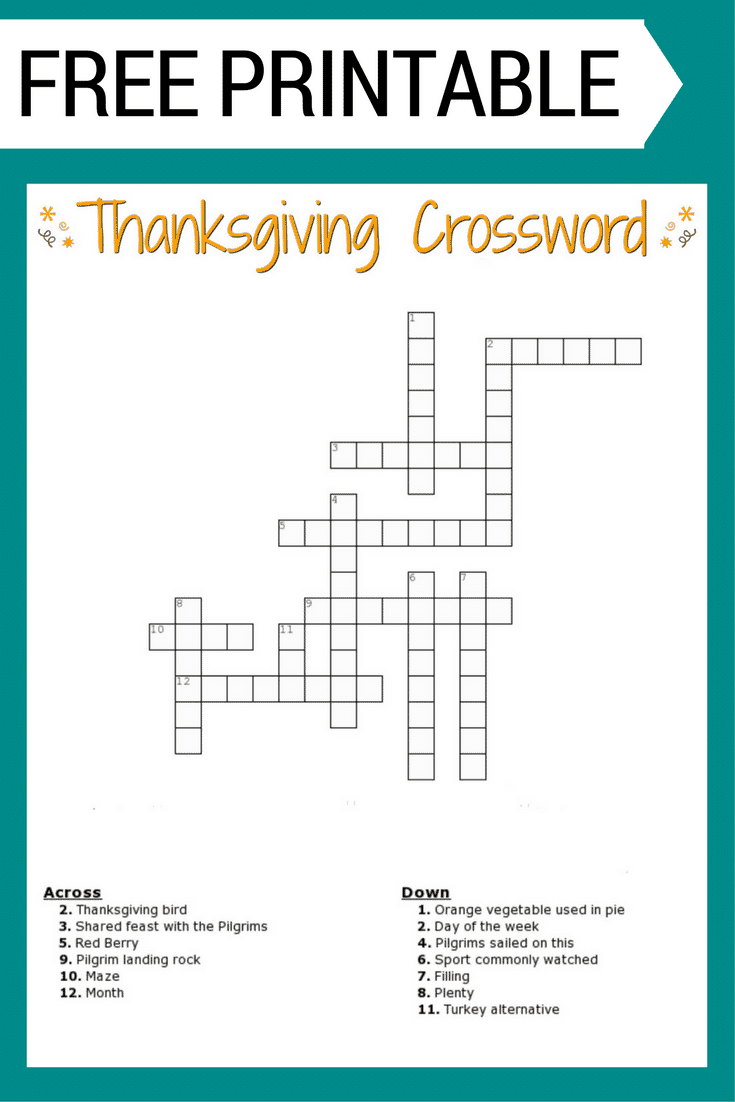 Printable Thanksgiving Crossword Puzzles